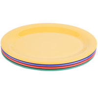 GET OP-950-MIX Diamond Mardi Gras 9 3/4 inch x 7 1/4 inch Oval Melamine Platter, Assorted Colors   - 24/Case