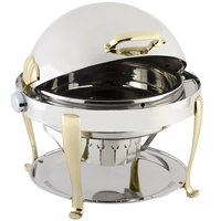 Bon Chef 19000 Elite Round 8 Qt. Dripless Round Stainless Steel with Brass Accents Roll Top Chafer with Roman Legs