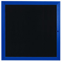 Aarco ADC3636B 36 inch x 36 inch Enclosed Hinged Locking 1 Door Powder Coated Blue Aluminum Indoor Message Center with Black Letter Board