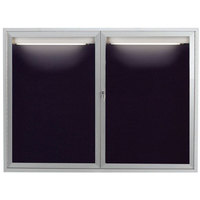 Aarco ADC4860I 48 inch x 60 inch Enclosed Hinged Locking 2 Door Satin Anodized Finish Aluminum Indoor Lighted Message Center with Black Letter Board