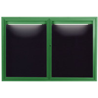 Aarco ADC3648IG 36 inch x 48 inch Enclosed Hinged Locking 2 Door Powder Coated Green Aluminum Indoor Lighted Message Center with Black Letter Board