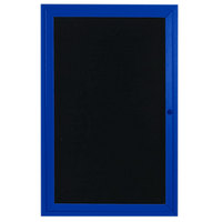 Aarco ADC2418B 24 inch x 18 inch Enclosed Hinged Locking 1 Door Powder Coated Blue Aluminum Indoor Message Center with Black Letter Board