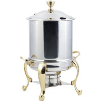 Bon Chef 39001HL Roman Petite 8 Qt. Stainless Steel with Brass Accents Hinged Top Marmite Chafer