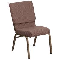Flash Furniture FD-CH02185-GV-BNDOT-GG Hercules Series Brown Dot 18 1/2 inch Church Chair with Gold Vein Frame
