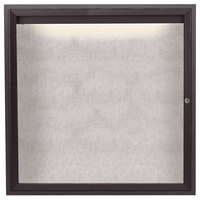 Aarco ODCC3636RIBA 36 inch x 36 inch Enclosed Hinged Locking 1 Door Bronze Anodized Outdoor Lighted Bulletin Board Cabinet