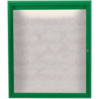 Aarco ODCC4836RIG 48 inch x 36 inch Enclosed Hinged Locking 1 Door Powder Coated Green Outdoor Lighted Bulletin Board Cabinet