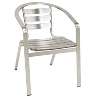 American Tables and Seating 55 Aluminum Chair with Slat Back and Seat