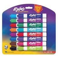 Expo 1927526 Assorted Vibrant 15-Color Low-Odor Medium Point Dry Erase Marker Set