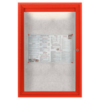 Aarco ODCC3624RIR 36 inch x 24 inch Enclosed Hinged Locking 1 Door Powder Coated Red Outdoor Lighted Bulletin Board Cabinet