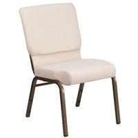 Flash Furniture FD-CH02185-GV-B2-GG Hercules Series Beige 18 1/2 inch Church Chair with Gold Vein Frame