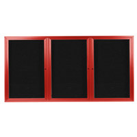Aarco ADC3672-3R 36 inch x 72 inch Enclosed Hinged Locking 3 Door Powder Coated Red Aluminum Indoor Message Center with Black Letter Board