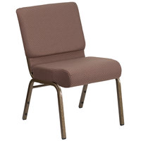 Flash Furniture FD-CH0221-4-GV-BNDOT-GG Hercules Series Brown Dot 21 inch Church Chair with Gold Vein Frame