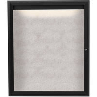 Aarco ODCC4836RIBK 48 inch x 36 inch Enclosed Hinged Locking 1 Door Powder Coated Black Outdoor Lighted Bulletin Board Cabinet