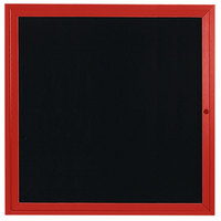 Aarco ADC3636R 36 inch x 36 inch Enclosed Hinged Locking 1 Door Powder Coated Red Aluminum Indoor Message Center with Black Letter Board