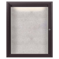 Aarco ODCC3630RIBA 36 inch x 30 inch Enclosed Hinged Locking 1 Door Bronze Anodized Outdoor Lighted Bulletin Board Cabinet