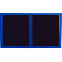 Aarco ADC3660B 36 inch x 60 inch Enclosed Hinged Locking 2 Door Powder Coated Blue Aluminum Indoor Message Center with Black Letter Board