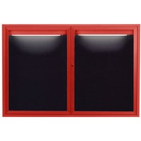 Aarco ADC3648IR 36 inch x 48 inch Enclosed Hinged Locking 2 Door Powder Coated Red Aluminum Indoor Lighted Message Center with Black Letter Board