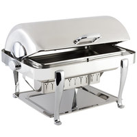 Bon Chef 19040CH Elite Rectangle 8 Qt. Dripless Stainless Steel with Chrome Accents Roll Top Chafer with Roman Legs