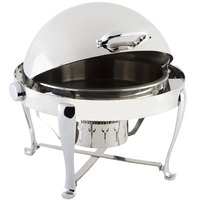 Bon Chef 19100CH Roman Sleek 8 Qt. Dripless Round Stainless Steel with Chrome Accents Roll Top Chafer with Roman Legs