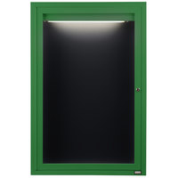 Aarco ADC2418IG 24 inch x 18 inch Enclosed Hinged Locking 1 Door Powder Coated Green Aluminum Indoor Lighted Message Center with Black Letter Board