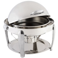 Bon Chef 10001CH Manhattan 8 Qt. Round Stainless Steel with Chrome Accents Roll Top Chafer with Vented Lid