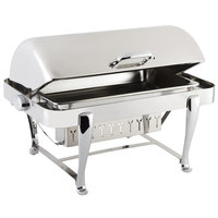 Bon Chef 19140CH Roman Sleek 8 Qt. Dripless Stainless Steel with Chrome Accents Roll Top Chafer with Roman Legs
