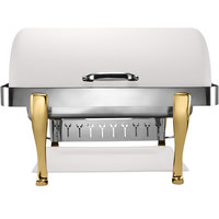 Bon Chef 19040-BIANCO Elite Rectangle 8 Qt. Dripless Bianco Finish with Brass Accents Roll Top Chafer with Roman Legs