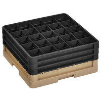 Vollrath CR10FFF-32806 Traex® 9 Compartment Beige Full-Size Closed Wall 7 7/8 inch Glass Rack with 3 Black Extenders