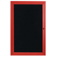 Aarco ADC2418R 24 inch x 18 inch Enclosed Hinged Locking 1 Door Powder Coated Red Aluminum Indoor Message Center with Black Letter Board