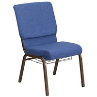 Flash Furniture FD-CH02185-GV-BLUE-BAS-GG Hercules Series Blue 18 1/2 inch Church Chair with Book Rack and Gold Vein Frame