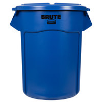 Rubbermaid BRUTE 55 Gallon Blue Trash Can and Lid