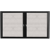 Aarco ODCC4872RBK 48 inch x 72 inch Enclosed Hinged Locking 2 Door Powder Coated Black Outdoor Bulletin Board Cabinet