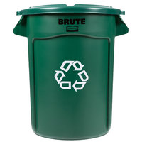 Rubbermaid BRUTE 32 Gallon Dark Green Recycling Can and Lid