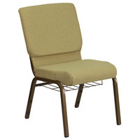 Flash Furniture FD-CH02185-GV-GN-BAS-GG Hercules Series Moss 18 1/2 inch Church Chair with Book Rack and Gold Vein Frame