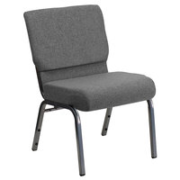 Flash Furniture XU-CH0221-GY-SV-GG Hercules Series Gray 21 inch Church Chair with Silver Vein Frame