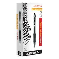 Zebra 46810 Sarasa Black Ink with Transparent Black Barrel 0.7mm Retractable Roller Ball Gel Pen - 12/Pack