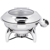 Choice Supreme 6 Qt. Round Stainless Steel Induction / Traditional Dual-Purpose Chafer with Glass Top, Soft-Close Lid, and Stand with Fuel Holder