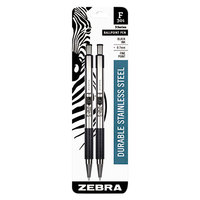 Zebra 27112 F-301 Black Ink with Stainless Steel Barrel 0.7mm Retractable Ballpoint Pen - 2/Pack