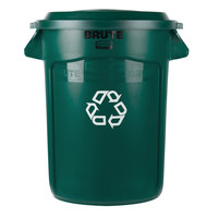 Rubbermaid BRUTE 32 Gallon Dark Green Recycling Can and Recycling Lid with Paper Slot