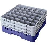 Cambro 36S900186 Navy Blue Camrack Customizable 36 Compartment 9 3/8 inch Glass Rack