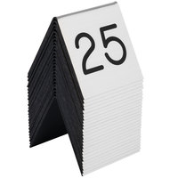 Cal-Mil 269A-10 Silver Engraved Number Tent Sign Set 1-25 - 3 inch x 3 inch