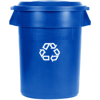 Rubbermaid BRUTE 32 Gallon Blue Recycling Can and Recycling Lid with Paper Slot