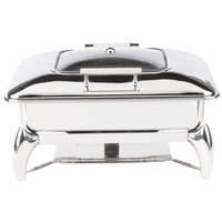 Choice Supreme 8 Qt. Full Size Stainless Steel Induction / Traditional Dual-Purpose Chafer with Glass Top, Soft-Close Lid, and Stand with Fuel Holders