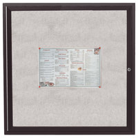 Aarco ODCC3636RBA 36 inch x 36 inch Enclosed Hinged Locking 1 Door Bronze Anodized Outdoor Bulletin Board Cabinet