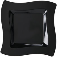 Fineline Wavetrends 109-BK 9 1/2 inch Black Customizable Plastic Square Plate - 120/Case