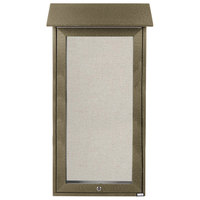 Aarco OPLD3416-8 Slimline 34 inch x 16 inch Weathered Wood Outdoor Plastic Lumber Message Center with Vinyl Posting Surface - Single Top Hinged Door