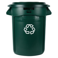 Rubbermaid BRUTE 32 Gallon Dark Green Recycling Can and Recycling Lid with Hole