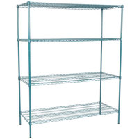 Regency 24 inch x 60 inch NSF Green Epoxy 4-Shelf Kit with 74 inch Posts