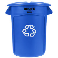 Rubbermaid BRUTE 32 Gallon Blue Recycling Can and Lid