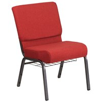 Flash Furniture FD-CH0221-4-SV-RED-BAS-GG Hercules Series Red 21 inch Church Chair with Book Rack and Silver Vein Frame
